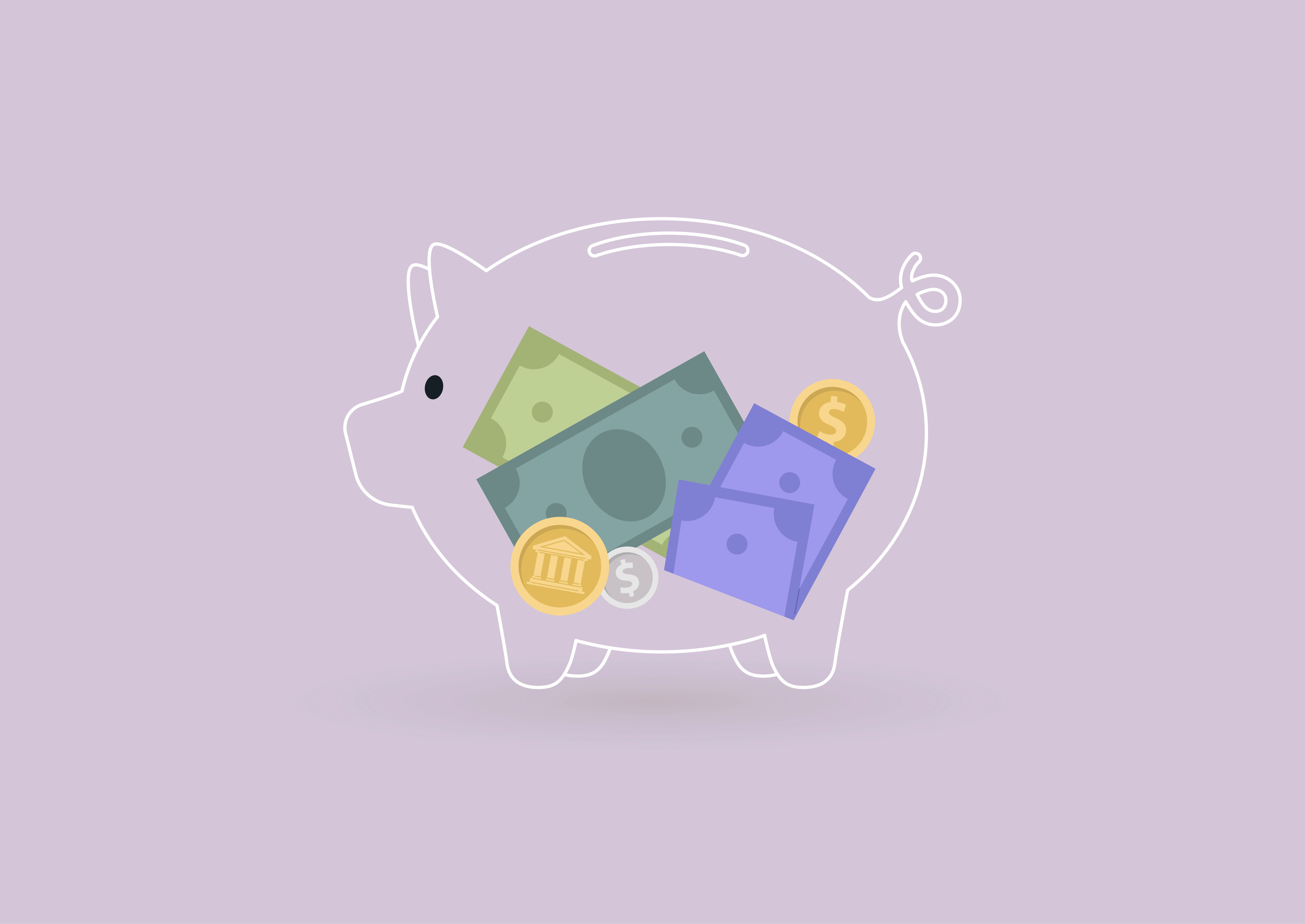 illustration of piggy bank filled with money